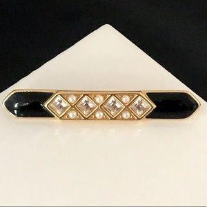 Monet Bar Pin Simulated Pearl Crystals Enamel 9A